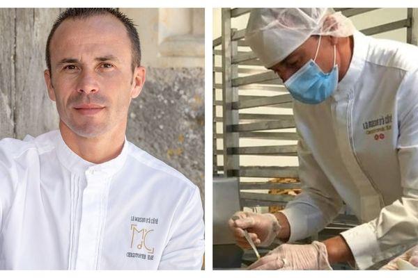 Christophe Hay, chef deux étoiles Michelin à Montlivault dans le Loir-et-Cher en train de réaliser un repas  à l'Ehpad de Bracieux (Loir-et-Cher) - avril 2020