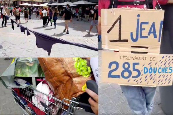 Les militants ont déployé des centaines de vêtements dans les rues du centre-ville de Lille pour dénoncer la Fast Fashion.