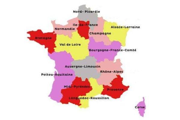 Carte virtuelle des 15 régions administratives inspirée d'un rapport réalisé en 2009 sous la houlette d'Edouard Balladur.