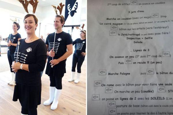 """A gauche, l'uniforme des """" Majorennes """". A droite, mode d'emploi pour une chorégraphie réussie."""