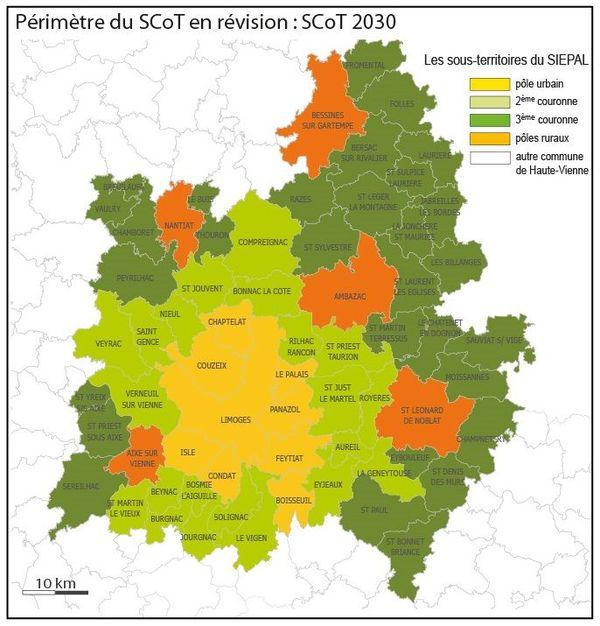 Le périmètre du futur SCoT de Haute-Vienne.