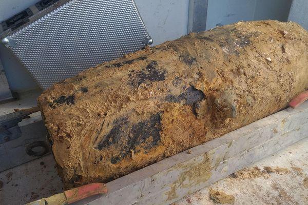 Cette bombe d'aviation anglaise date de 1943 et contient 120 kg d'explosifs