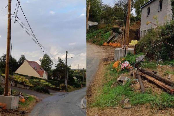 Les poteaux téléphoniques endommagés à l'origine de la coupure de téléphone et d'internet rue de la Colline à Balagny-sur-Thérain dans l'Oise - Mardi 24 septembre 2019