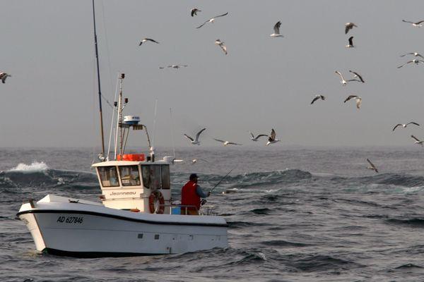 Au milieu des écueils, entre la Pointe du Raz et le phare de la Vieille, des marins pêcheurs traquent le bar à la ligne (Archives, 2006).