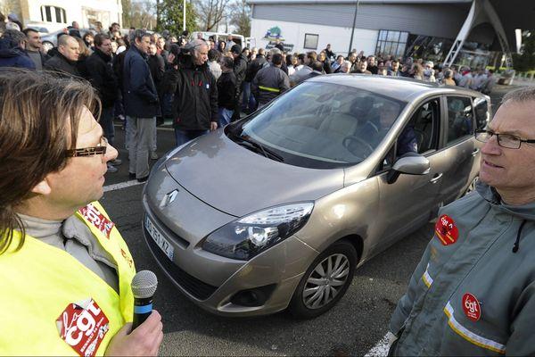 Lors du débrayage du 16 janvier 2013 sur le site d'ACI Renault au Mans