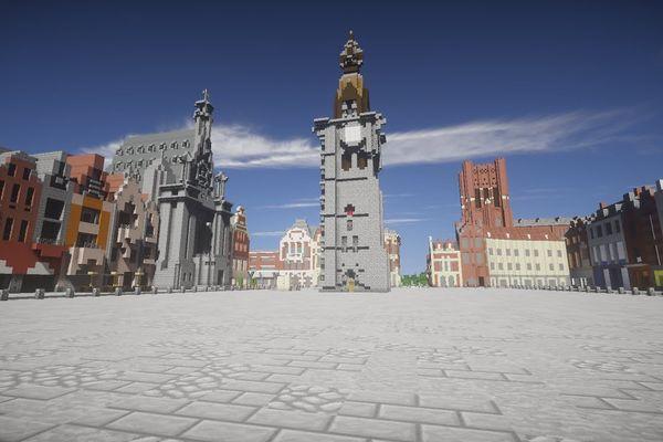 La Grand-Place de Béthune version Minecraft.
