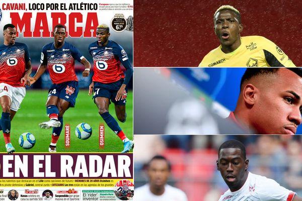 Gabriel, Soumaré et Osimhen en une du quotidien sportif espagnol Marca ce vendredi.