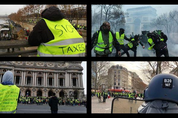 Panel de gilets jaunes lors des manifestations à Paris.