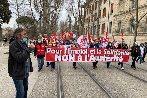Manifestation interprofessionnelle pour l'emploi et les conditions de travail à Montpellier le 4 février 2021