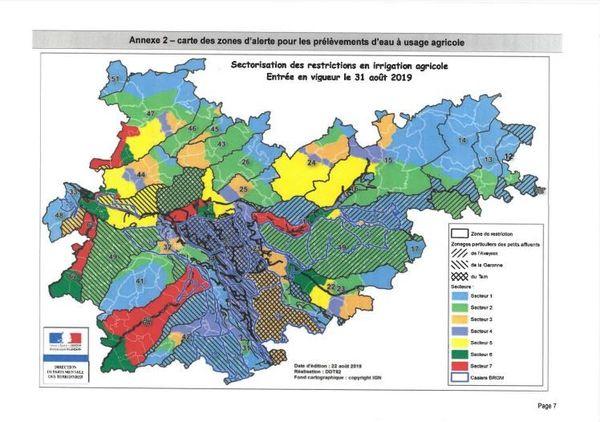 Sur cette carte éditée par la préfecture, du Tarn-et-Garonne, le détail des zones d'alerte et des restrictions en irrigation agricole.