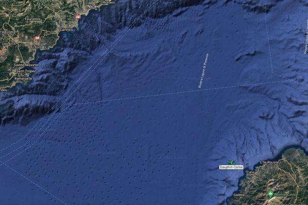 """La position du """"dauphin corse"""" ce lundi 14 septembre à 18h."""