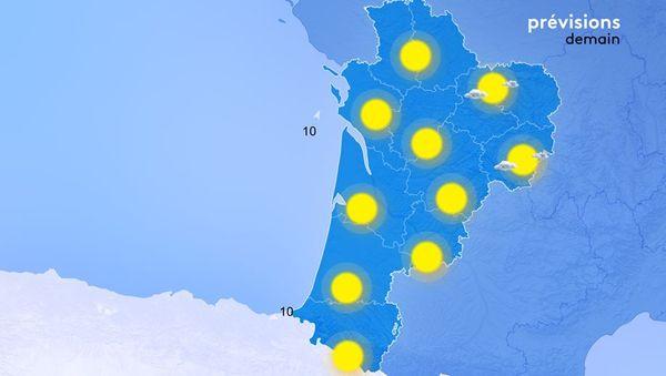 Le soleil brillera sans partage dès midi sur toute la Nouvelle-Aquitaine !