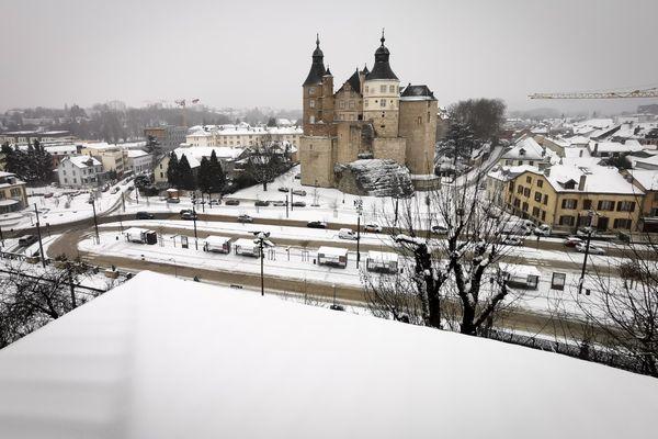 Montbéliard sous la neige ce 10 février.