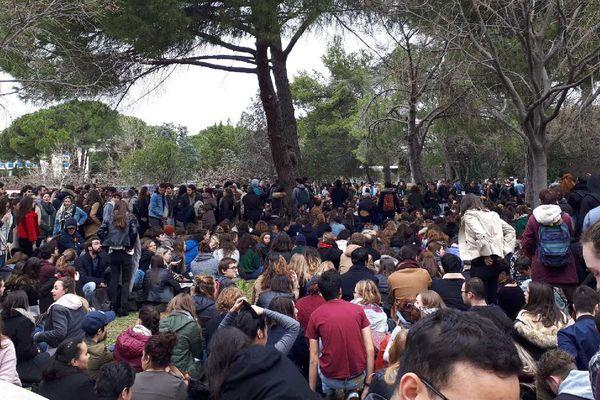 Montpellier - AG en plein air des étudiants de la fac Paul Valéry - 27 mars 2018.