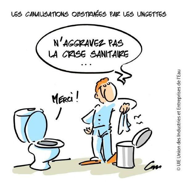 La lingette, c'est pas dans les toilettes !