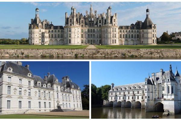 Les châteaux de Chambord (en haut), Cheverny (à gauche) et Chenonceau (à droite).