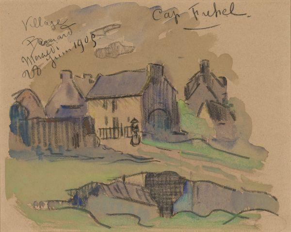 Gustave Loiseau-Le Cap Fréhel, 1905 Aquarelle et fusain-Coll Musée de Pont-Aven