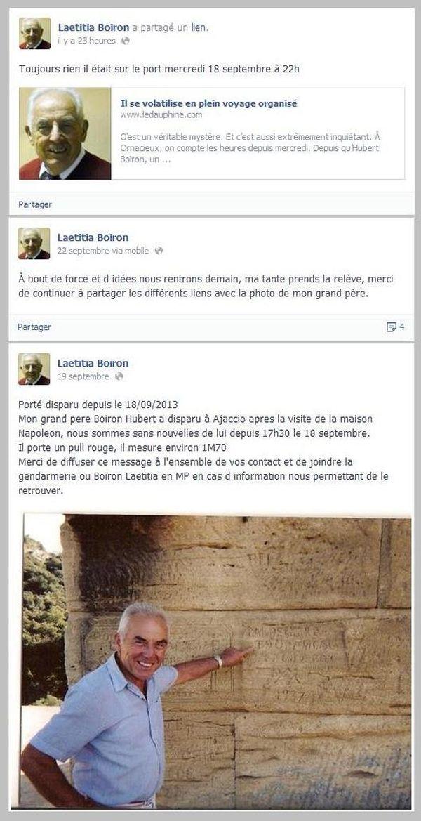Captures d'écran de la page Facebook de Laetitia Boiron