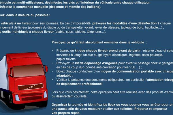 Des fiches conseils éditées par le ministère du Travail pour aider les salariés et les employeurs dans la mise en œuvre des mesures de protection contre le COVID-19 sur les lieux de travail. Ici, l'une des pages de la fiche conseil pour chauffeur livreur.
