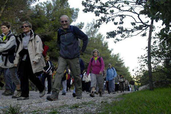 épart de la randonnée sur le campus de Luminy en 2009.