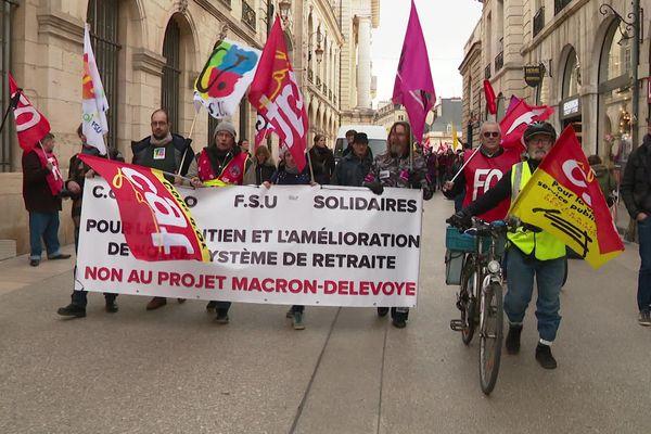 Mardi 14 janvier 2020, à Dijon, les syndicats ont compté un millier de manifestants contre la réforme des retraites, la police 800.