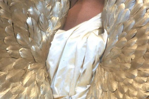 Guy Marineau, Wings and dress Thierry Mugler, Autumn-Winter 1984