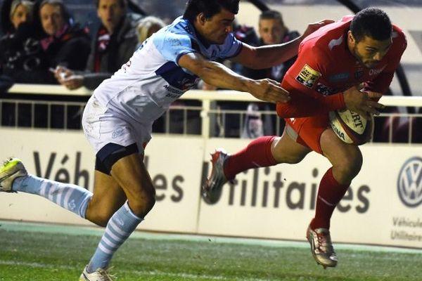 Bryan Habana part à l'essai contre l'Aviron bayonnais, le 30 janvier au stade Mayol de Toulon.