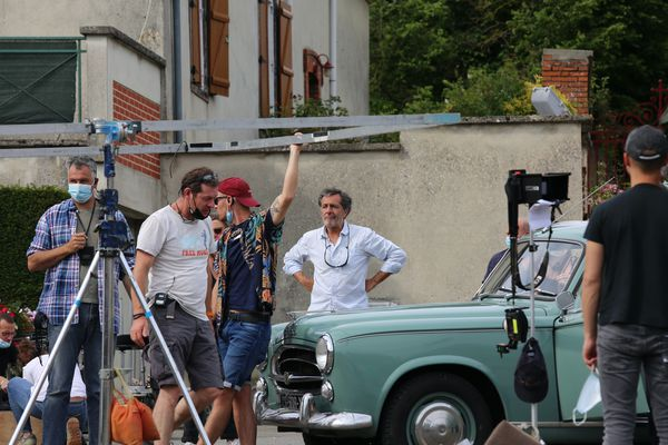Nicolas Vannier in the middle of filming.