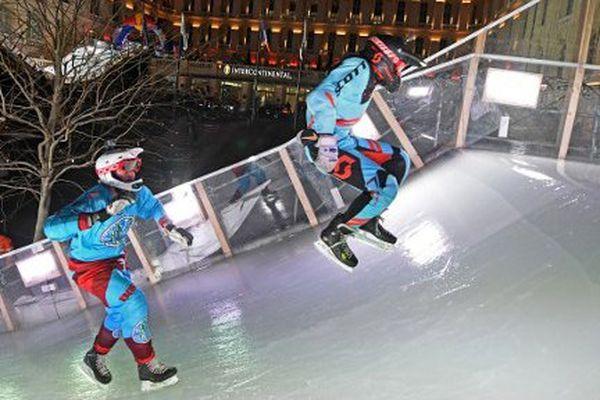 Les essais pour les concurrents du Crashed Ice.