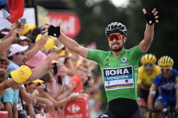 Le coureur Peter Sagan remporte l'étape entre Lorient et Quimper pendant le Tour de France 2018