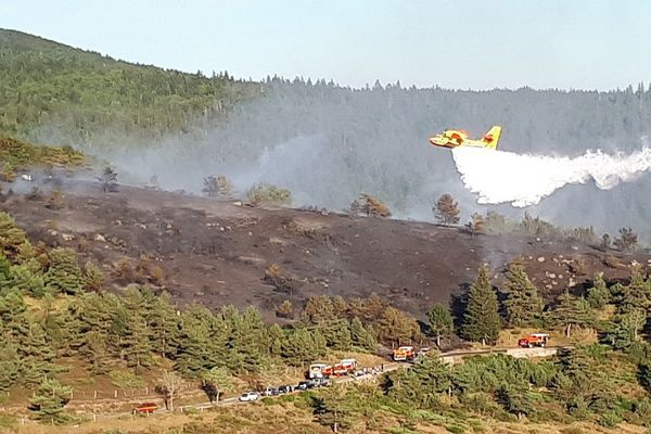 Dourbies (Gard) - incendie entre le col du minier et l'Espérou - 6 août 2017.