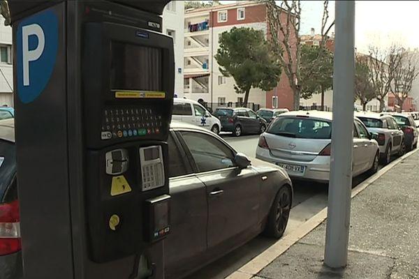 Une borne de stationnement quartier de la Madeleine à Nice.
