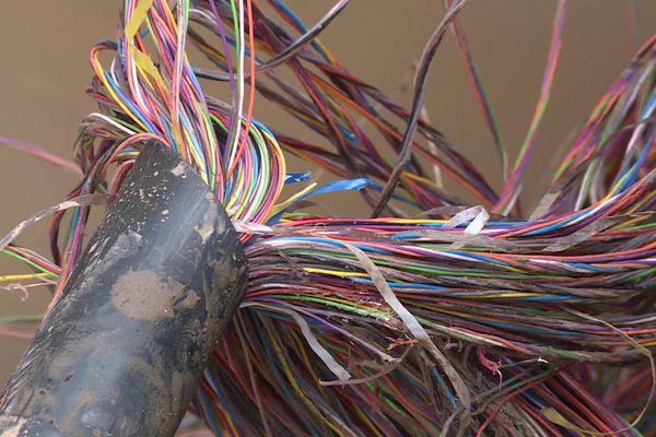 Câble de réseau de télécommunication avec à l'intérieur de nombreux fils de cuivre