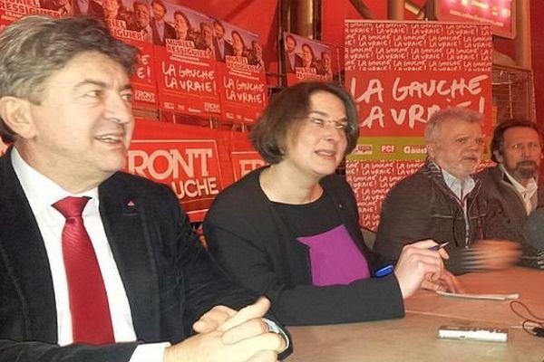 Montpellier - Jean-Luc Mélenchon, coprésident du Parti de gauche avec Murielle Ressiguier, tête de liste Front de gauche aux municipales - 19 février 2014.
