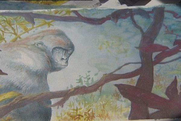 """""""Des gorilles et des hommes"""", une aquarelle de A.DAN"""