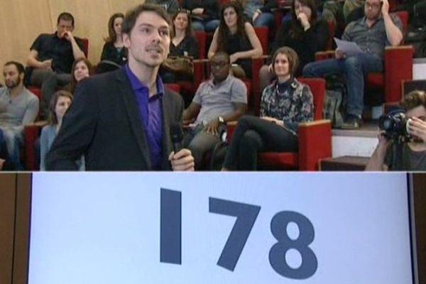 Un des doctorants qui avaient 180 secondes pour convaincre leur jury