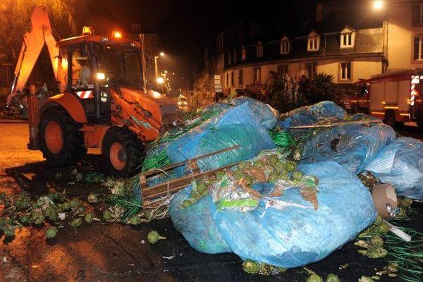 Les rues de Morlaix nettoyés après l'action des légumiers dans la nuit du 19 au 20 septembre.
