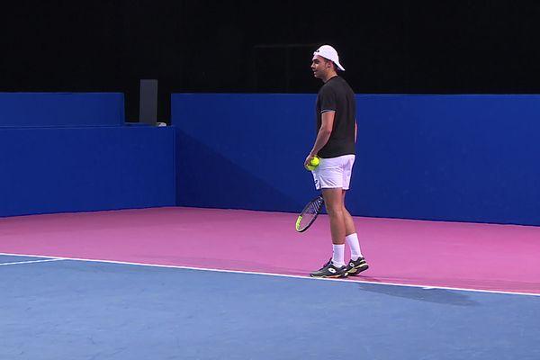 Le Nîmois Benjamin Bonzi à Montpellier pour l'Open Sud de France, le 23 février 2021.