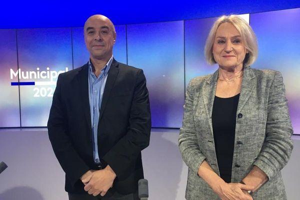 Franck Noël-Baron et Marie-Thérèse Roubaud, deux des trois candidats à Langeac pour les élections municipales