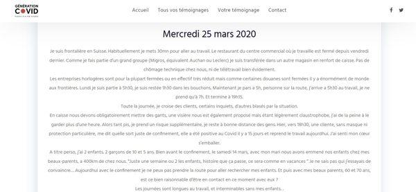 Le témoignage d'Aurore, publié le 25 mars 2020.