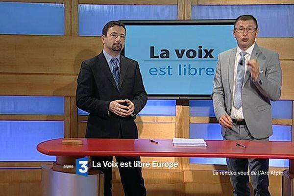 Renato Willien et Fabrice Liégard sur le plateau de La Voix est Libre Transfrontalière