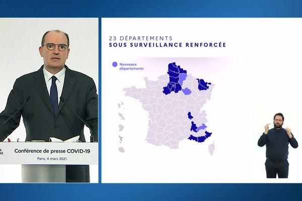 Conférence de presse Covid du Premier ministre Jean Castex, jeudi 04 mars 2020.