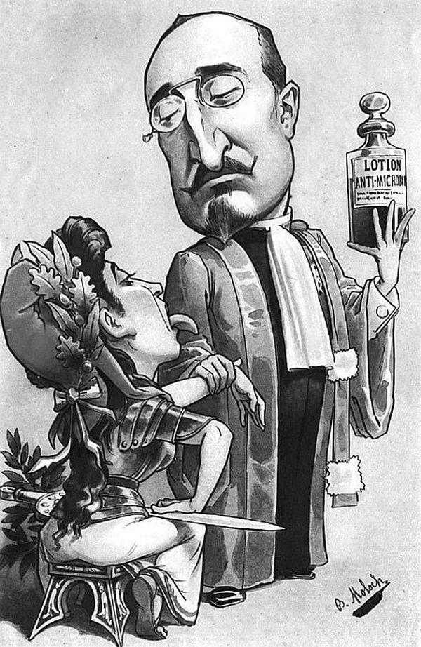 Caricature de Chantemesse et son fameux sérum de la typhoïde qui sauva l'armée coloniale française décimée au Maroc.