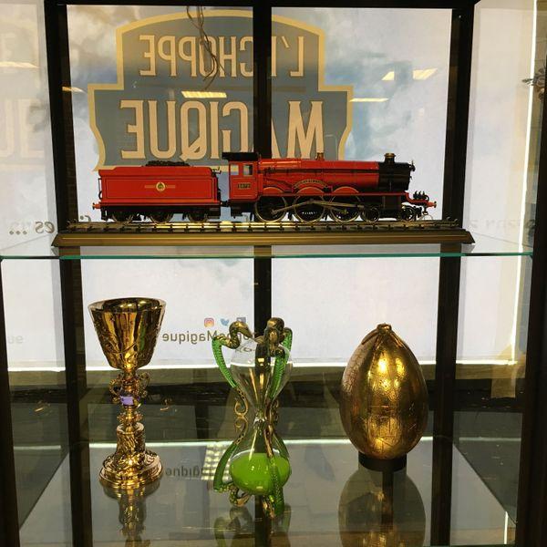 En vente: une maquette du Poudlard Express, de coûteux artefacts comme la coupe de Dumbledore, le sablier du professeur Slughorn, ou l'oeuf du Tournoi des trois sorciers.
