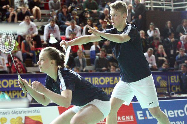 Photo d'archives, lors de finale double du championnat d'Europe de badminton junior a Mulhouse, le 11 avril 2016.