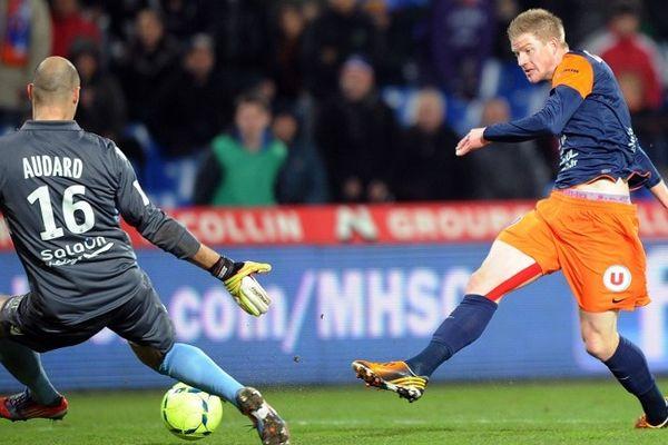 Montpellier : 2e but de Charbonnier face au gardien de Lorient - 12 janvier 2013.