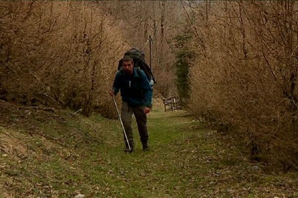 David Labarre marche jusqu'à 25 km par jour.