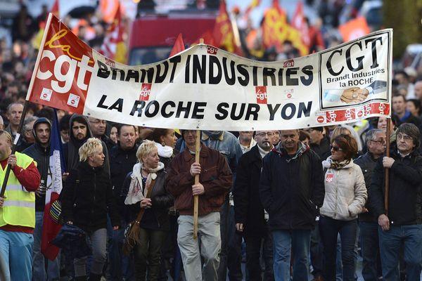 Manifestation des salariés de FagorBrandt à La Roche-sur-Yon en novembre 2013