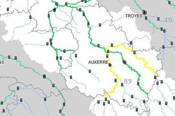Le tronçon Yonne amont a été placé en vigilance jaune, à la suite des pluies du 17 décembre et de la nuit