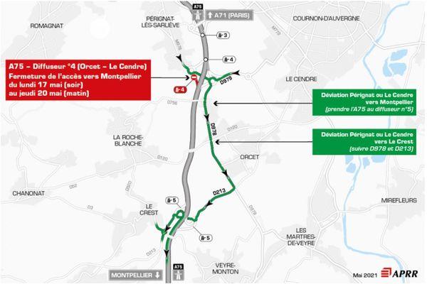 Mardi 18 mai, la circulation sera déviée sur l'autoroute A75, au sud de Clermont-Ferrand